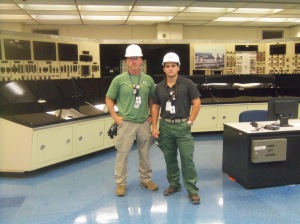 A view of the TMI-2 control room, last year, with two NRC inspectors.