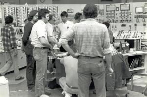 The Three Mile Island Unit 2 Control Room bustles during the crisis in 1979. For more historical information, click on the photo to go to the NRC YouTube video about the accident.