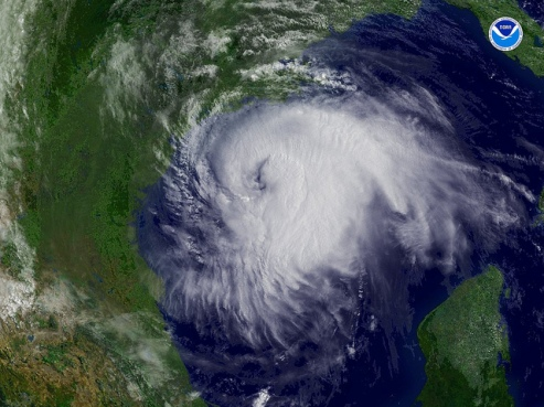 A hurricane as seen by satellite. Be assured, it's not happening now.