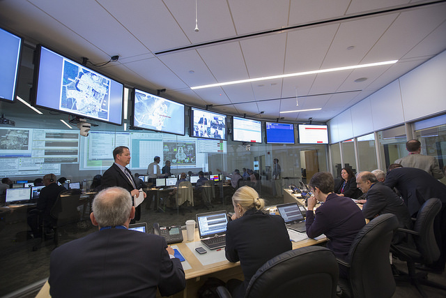 NRC officials participate in an exercise at the headquarters Op Center. The Op Center will be active during the upcoming Southern Exposure 2015 exercise.