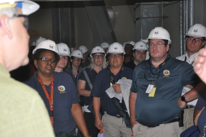 Representatives from the Alabama Emergency Management Agency listen to an NRC instructor at Bellefonte.