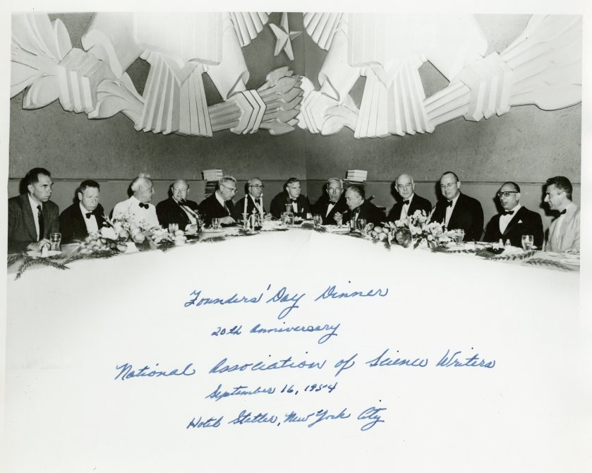 AEC Chairman Lewis Strauss (sixth from left) can be seen at the head table at the 1954 National Association of Science Writers Founder Day Dinner. In attendance that evening were five Nobel Prize winners, including future AEC Chairman Glenn Seaborg (first on left). Also in this photo: Albert Szent-Gyorgyi (Nobel Prize winner) is third from the left; Alton Blakeslee (president of the National Association of Science Writers) is seventh from the left; Irving Langmuir (Nobel Prize winner) is sixth from the right and Edward C. Kendall (Nobel Prize winner) is fourth from the right.